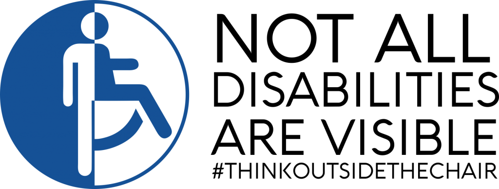 Not All DIsabilities Are Visible. Image of the universal symbol for disability (a person in a wheelchair) morphing into the universal symbol for person (a standing stick figure).